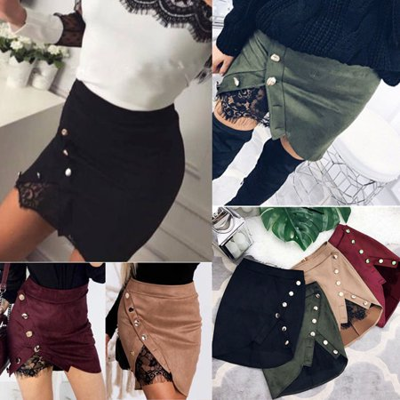 Women High Waist Lace Up Suede Leather Pocket Preppy Short Mini Skirts dress