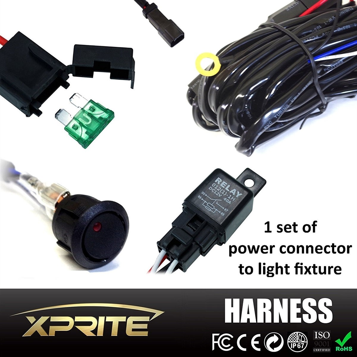 Xprite LED Light Bar Wiring Harness with 4 Leg - 40 Amp Relay ON OFF on pony harness, swing harness, oxygen sensor extension harness, nakamichi harness, fall protection harness, engine harness, suspension harness, amp bypass harness, safety harness, cable harness, maxi-seal harness, obd0 to obd1 conversion harness, alpine stereo harness, electrical harness, battery harness, radio harness, dog harness, pet harness,