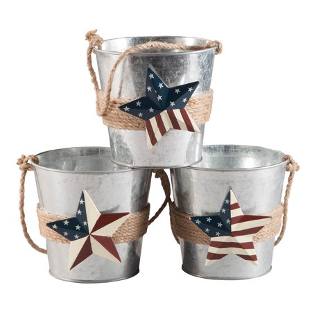 Metal Barn Star Buckets, Set of 3 by Fox River Creations™