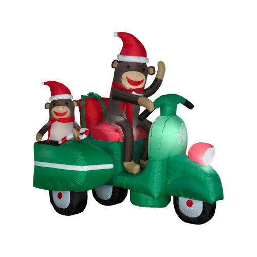 Gemmy Industries Airblown Sock Monkeys in Scooter Christmas Decoration