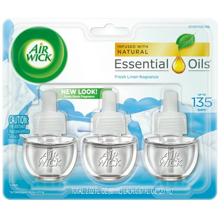 Air Wick Scented Oil 3 Refills, Fresh Linen, (3X0.67oz), same great fragrance of fresh laundry, Air