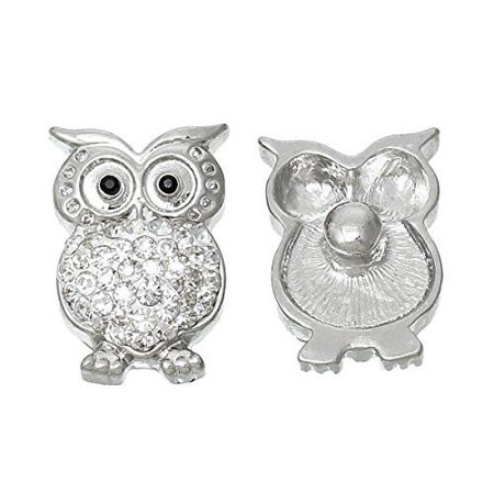 Chunk Snap Jewelry Button Owl Halloween White Silver Tone Fit Chunk Bracelet Clear - Origami Owl Halloween Charms 2017