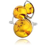 Multi-Amber-Stone Sterling Silver Ring