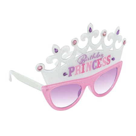 Bday Princess Adult Plastic Crown Sunglasses Party Funshades - Halloween Bday Pics