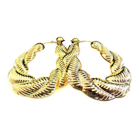 Gold Tone Rope Earrings (Clip-on Earrings Bamboo Puffed Rope Hoop Earrings Gold Tone)