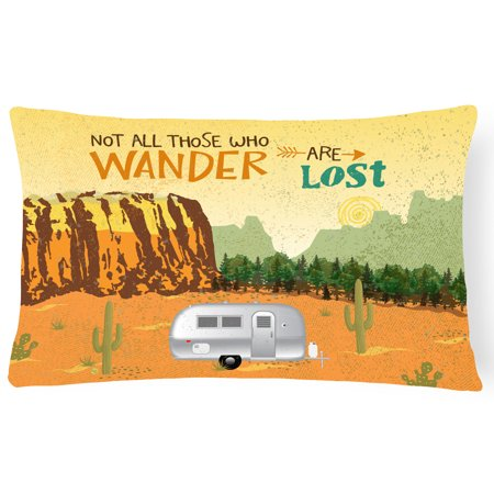 Image of Airstream Camper Camping Wander Canvas Fabric Decorative Pillow