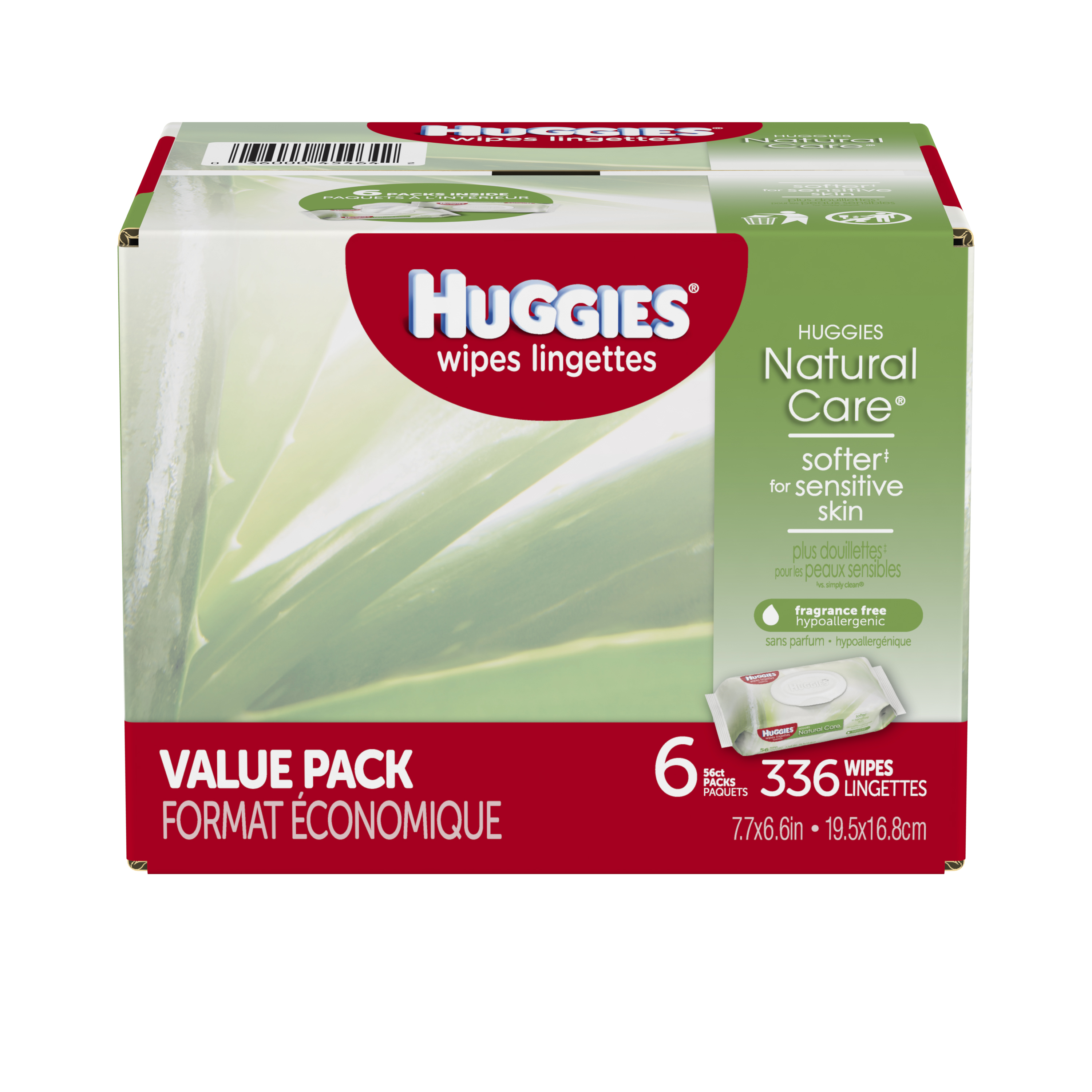 Huggies Natural Care Baby Wipes, Unscented, 6 packs of 56 (336 ct) by HUGGIES