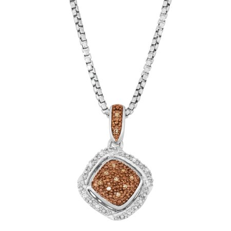 Beaux Bijoux Sterling Silver Two-Tone White & Chocolate Diamond Pendant with 17