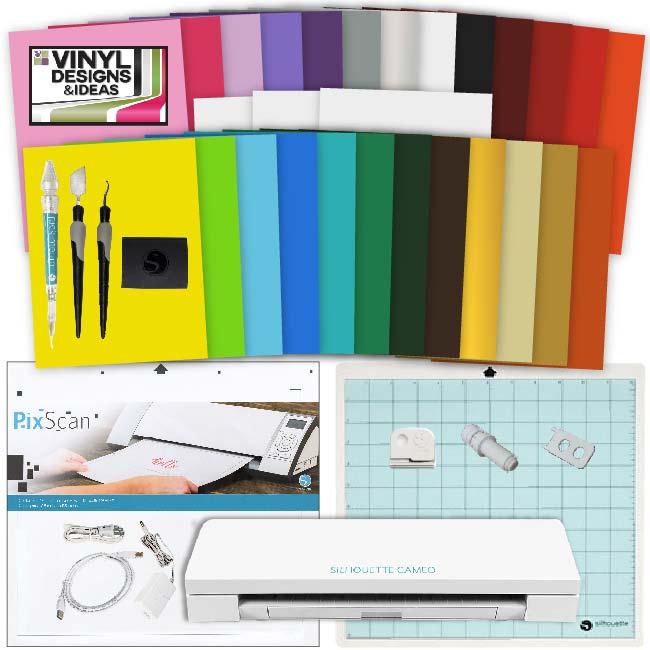 Silhouette CAMEO 3 Machine Vinyl Starter Bundle 25 Sheets Vinyl Paper Tools