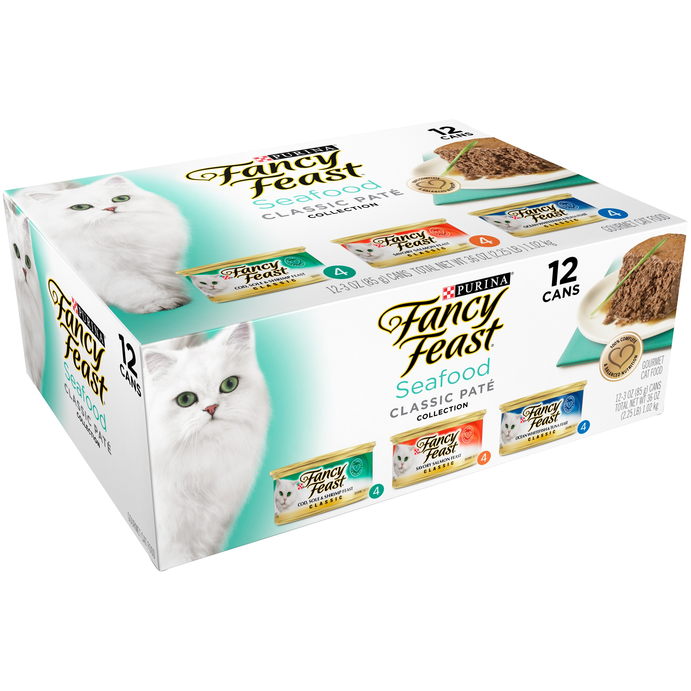 Purina Fancy Feast Classic Seafood Feast Collection Wet Cat Food- (12) 3-oz. Cans