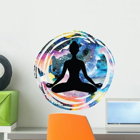 Yoda Wall (Padmasana Yoga Lotus Pose Wall Decal Wallmonkeys Peel and Stick Graphics (18 in H x 18 in W) WM502574 )