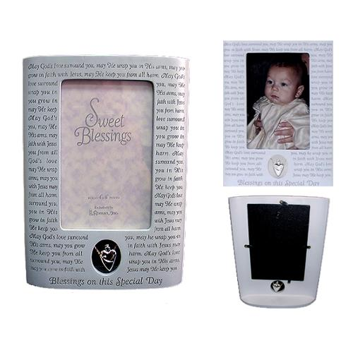 "9.5"" Baby Boy ""God Bless You"" Baptism 4""x6"" Photo Frame"