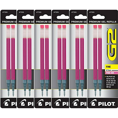 Value Pack of 6 - Pilot G2 Gel Ink Refills for Rolling Ball Pen, Fine Point, Pink (77253)