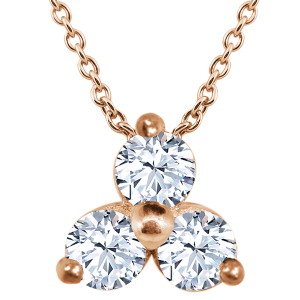 0.42 Ct Round White VS Topaz 925 Rose Gold Plated Silver Pendant