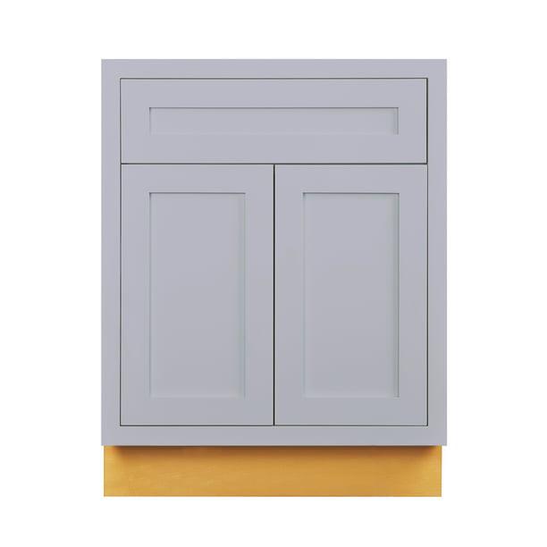 "27"" Wide Base Kitchen Cabinet Light Gray Inset Shaker ..."
