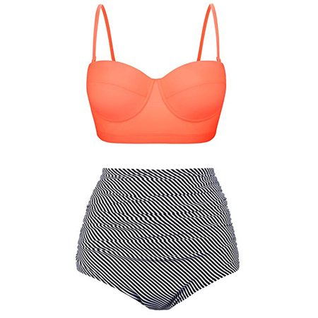 Women Sexy Swimsuit Two Piece  Push Up Padded Swimsuit High Waist Bikini Set Swimwear Bathing Suit