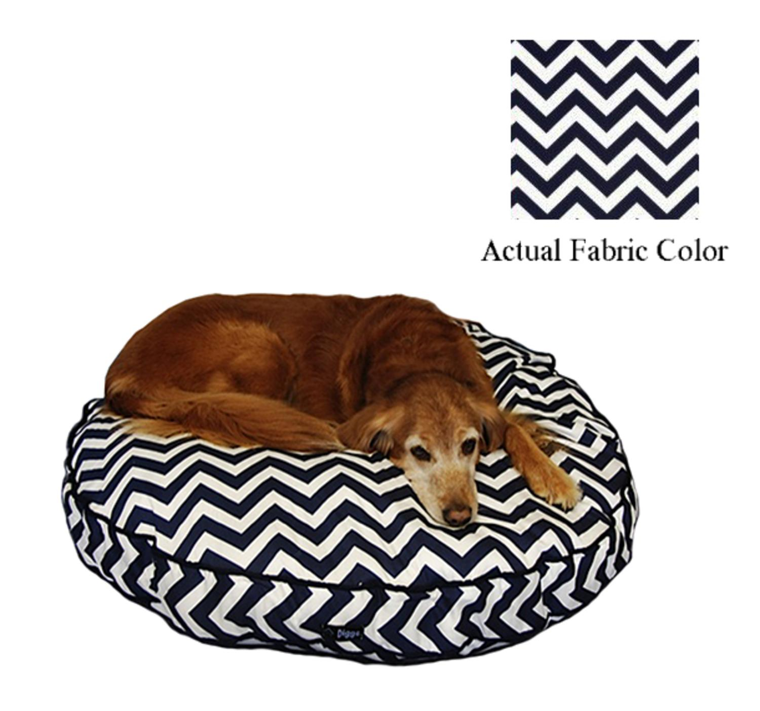 Navy and White Chevron Printed Deluxe Round Pet Dog Bed - Large