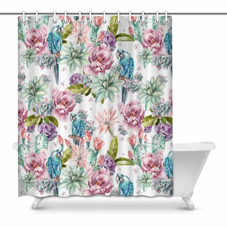 MKHERT Watercolor Flowers of Peony Rose Cactus and Blue Parrot Home Decor Waterproof Polyester Fabric Shower Curtain Bathroom Sets 60x72 inch