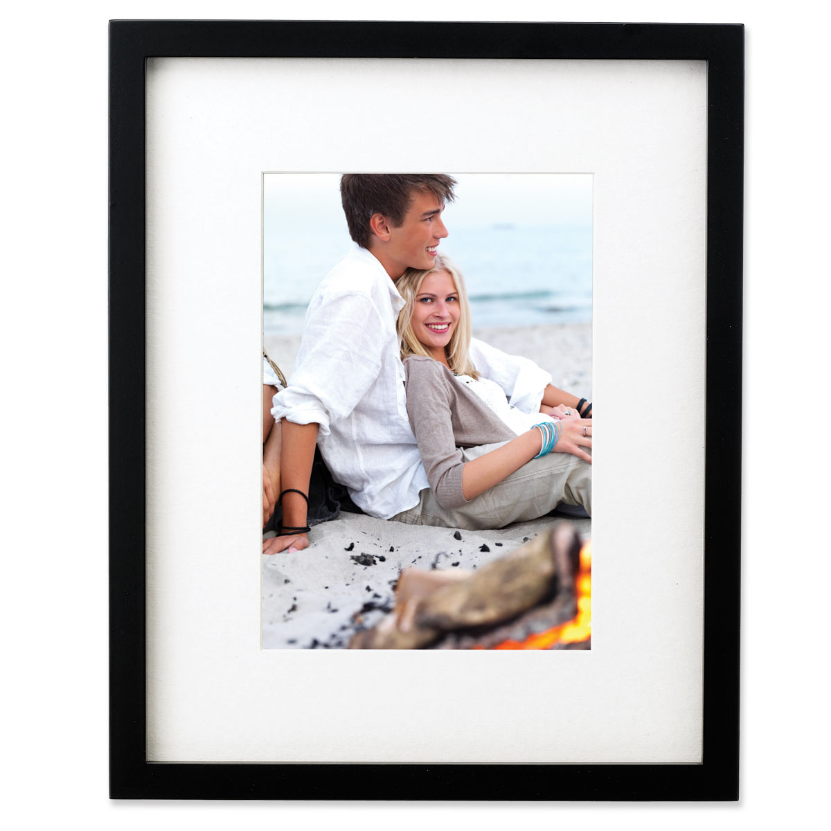 Black Wood 11x13 Picture Frame Matted to 8x10 by Lawrence Frames