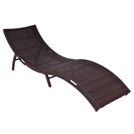 Costway mix brown folding patio rattan chaise lounge chair for Brown chaise lounge outdoor