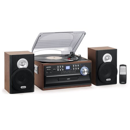 Music System Turntable (Jensen 3-Speed Turntable Music System Limited Edition JTA475W LCD Display with Front Loading CD Player , AM/FM Stereo Radio, Cassette Player ,Aux input, Headphone Jack & Wooden Speakers)