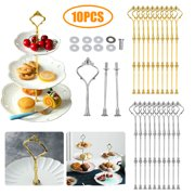 3 Tier Cupcake Stand Holder, 10 Set Zinc Alloy Rack Fruit Cake Plate Cakes Desserts Fruits Candy Buffet Display Rack for Home Gatherings Wedding Birthday Party Serving Platter (Gold/Silver)