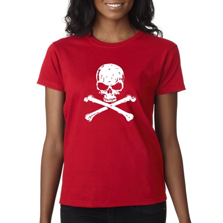 New Way 735 - Women's T-Shirt Skull Crossbones Pirate Poison Death (Woman Pirate Shirt)