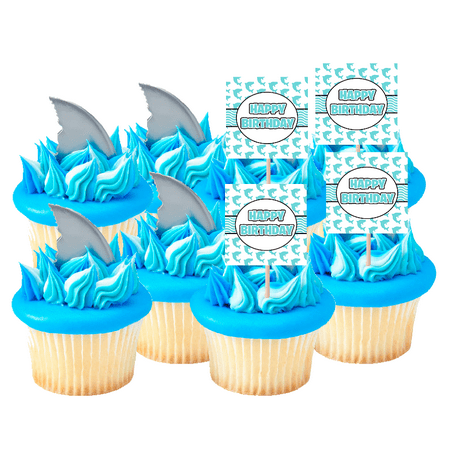 Shark Attach Finns & Shark Happy Birthday Cupcake Toppers 24pack