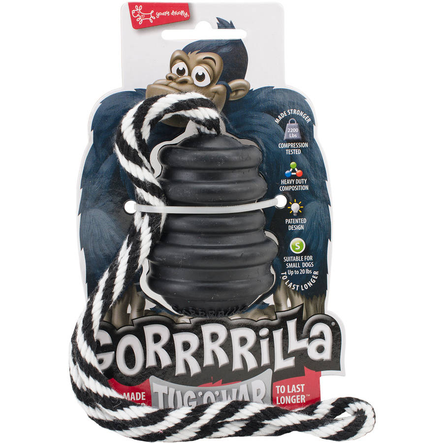 "Multipet Gorrrrilla Tough Rubber Treat Toy with Rope, 2.5"", Black"