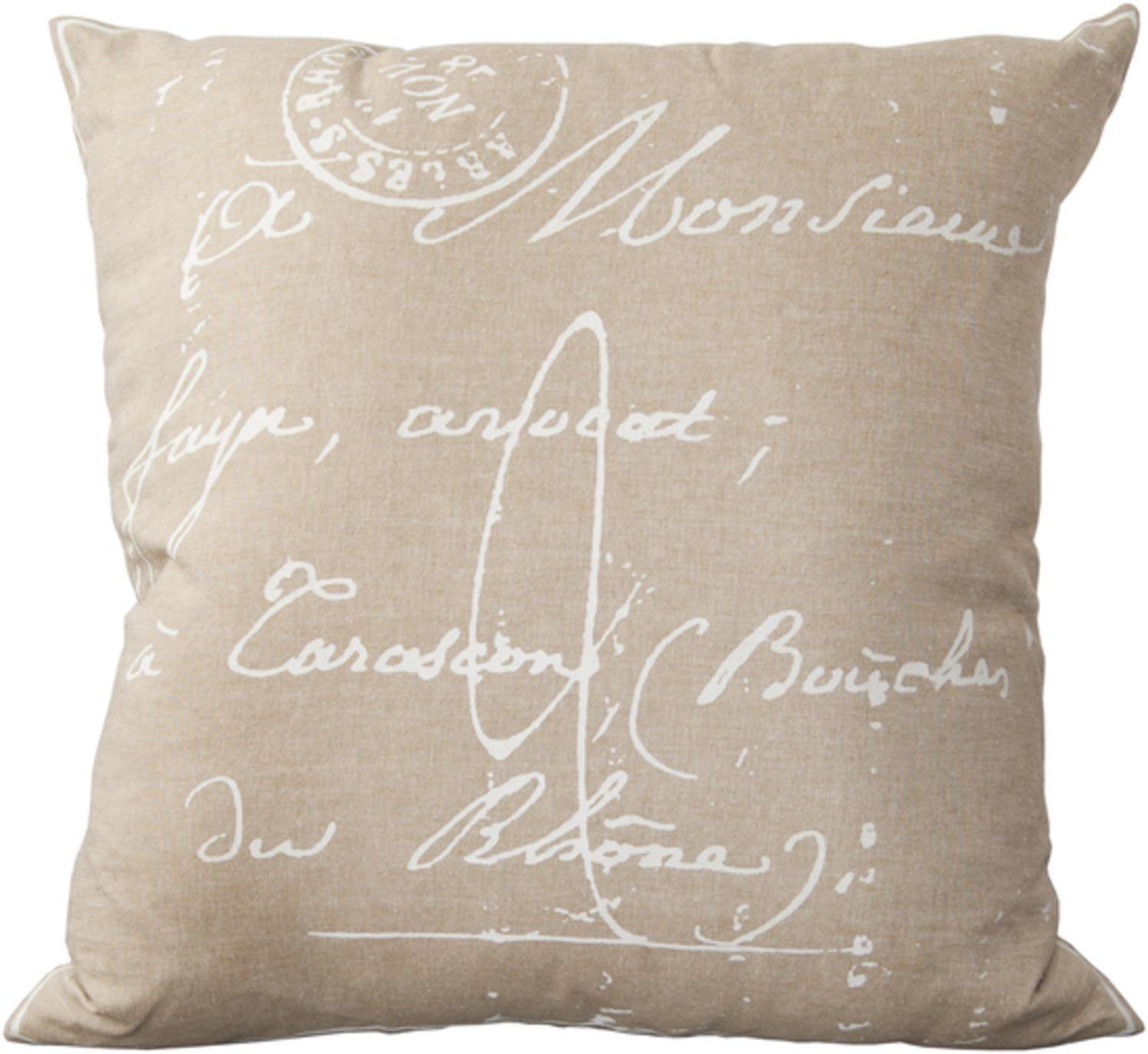 """18"""" Hazelwood Brown and Cream White Calligraphy Decorative Throw Pillow-Down Filler"""