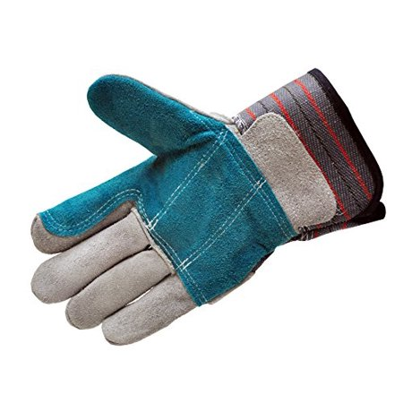 G & F 5215L-5 Premium Suede Double Palm & INDEX Finger Work Gloves with 2 & 1/2 Rubberized SAFETY Cuff, 5 Pair Pack Double Palm Work Gloves