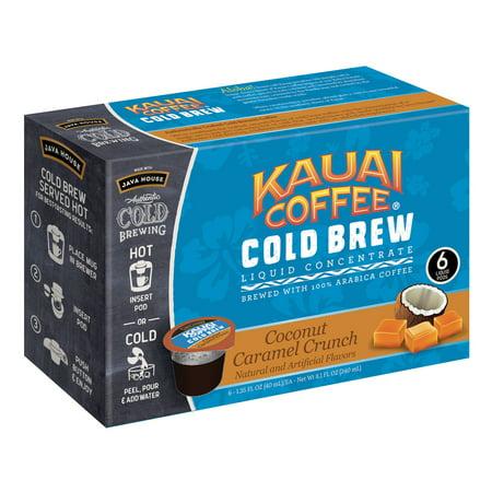 Kauai Cold Brew Coffee Pods, Coconut Caramel Crunch, 6 (Kagan Mix)