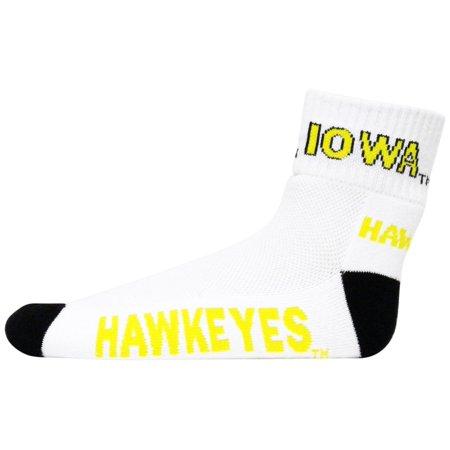 Iowa Quarters - Iowa Hawkeyes White Quarter black Heel Toe Sock