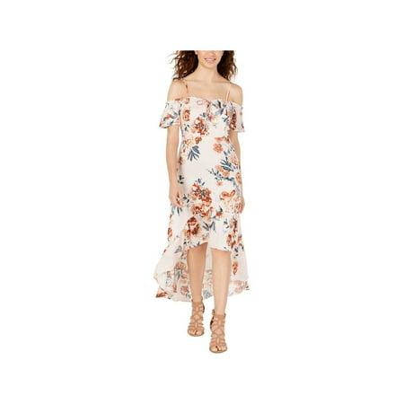 AMERICAN RAG Womens Pink Floral Spaghetti Strap Maxi Hi-Lo Dress Juniors Size: XS