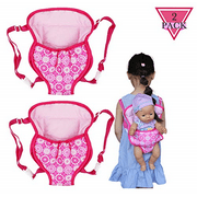 Amerteer 2 Pieces Doll Carrier Backpack Baby Doll Sleeping Bag for Sleepover Slumber Party, Fit 15 to 18 Inch Dolls
