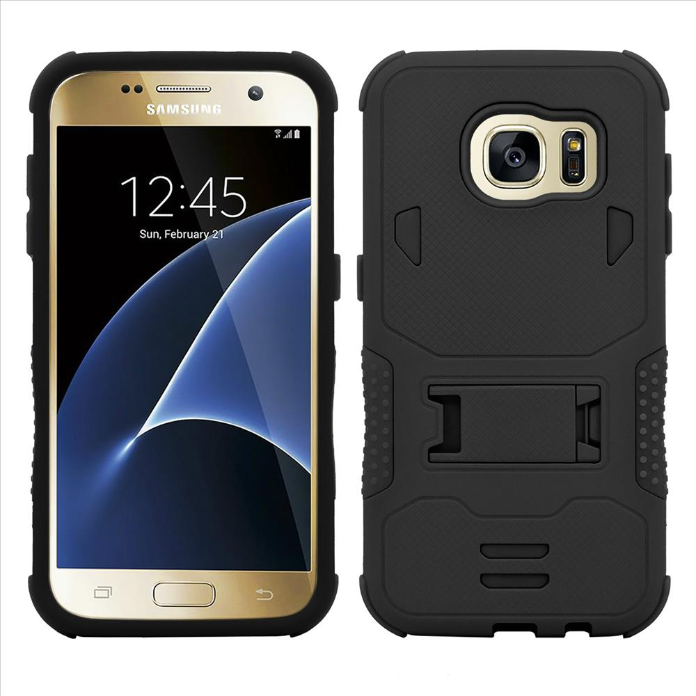 Samsung Galaxy S7 Impact Silicone Case Dual Layer with Stand Black