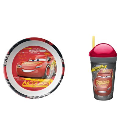 Zak Designs Cars 3 Melamine Bowl and ZakSnak 10 oz Tumbler -