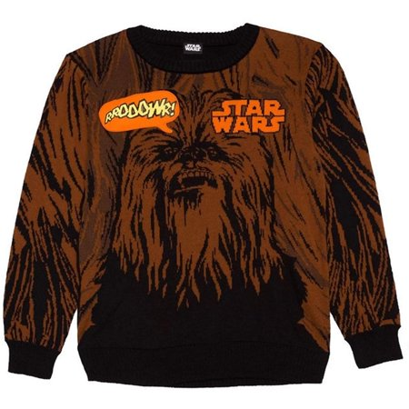 - Star Wars Boy's Chewbacca Graphic Sweater With Sound Effect Brown & Black