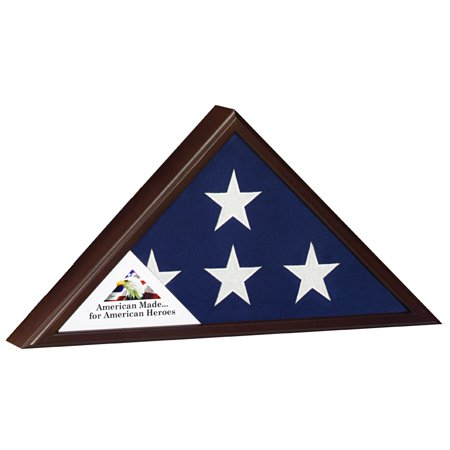 Veteran Cherry Flag Case Display for 5' X 9.5' Flag - Flag Certificate Display Case