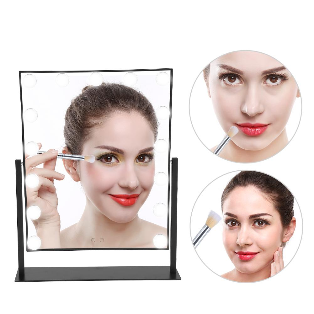 Dilwe 15 LED Lights Makeup Mirror Vanity Touch Screen Cosmetic Mirror Women Make-Up LED Mirror