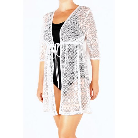 Catalina Women S Plus Size Crochet Tie Front Tunic Swim