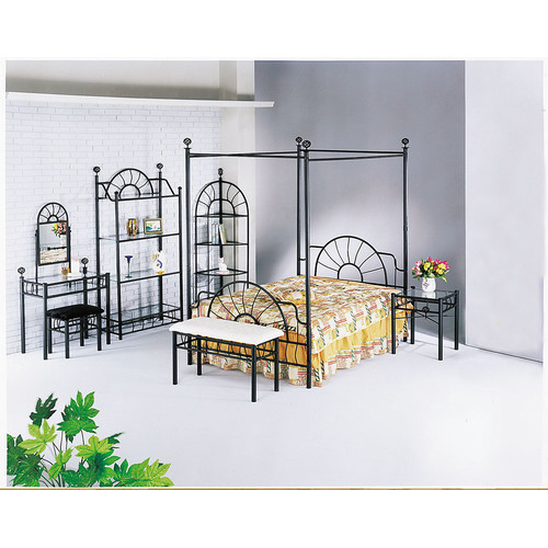 Acme Sunburst Queen Canopy Bed (Rail Not Included, Sandy Black by Acme Furniture