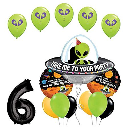 Space Birthday Party (Space Alien 6th Birthday Party Supplies Balloon Bouquet)