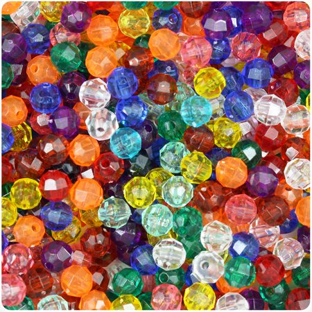 BeadTin Transparent Multi 6mm Faceted Round Craft Beads (Jet 6mm Round Beads)