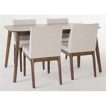 5-Pc Upholstered Dining Table Set in Natural Walnut Finish