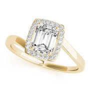 14k Gold 1.13ct TDW Emerald Bypass Halo Diamond Engagement Ring (G-H, SI1-SI2) 14k Rose Gold - Size 8.25