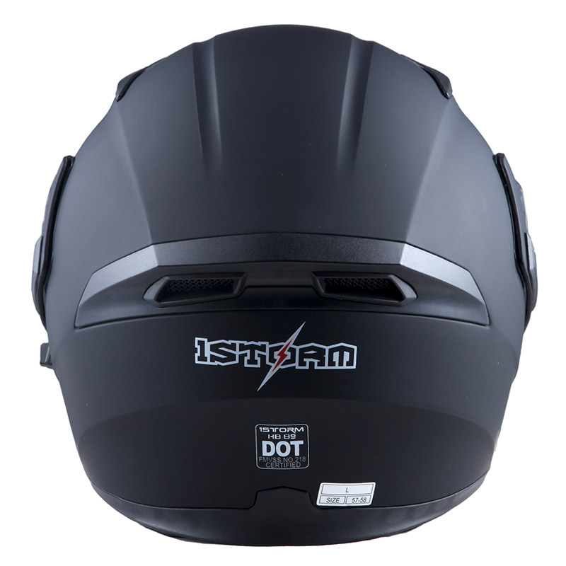 8c47afb6 1Storm Motorcycle Street Bike Modular Flip up Dual Visor Full Face Helmet  Matt Black HB89 - Walmart.com