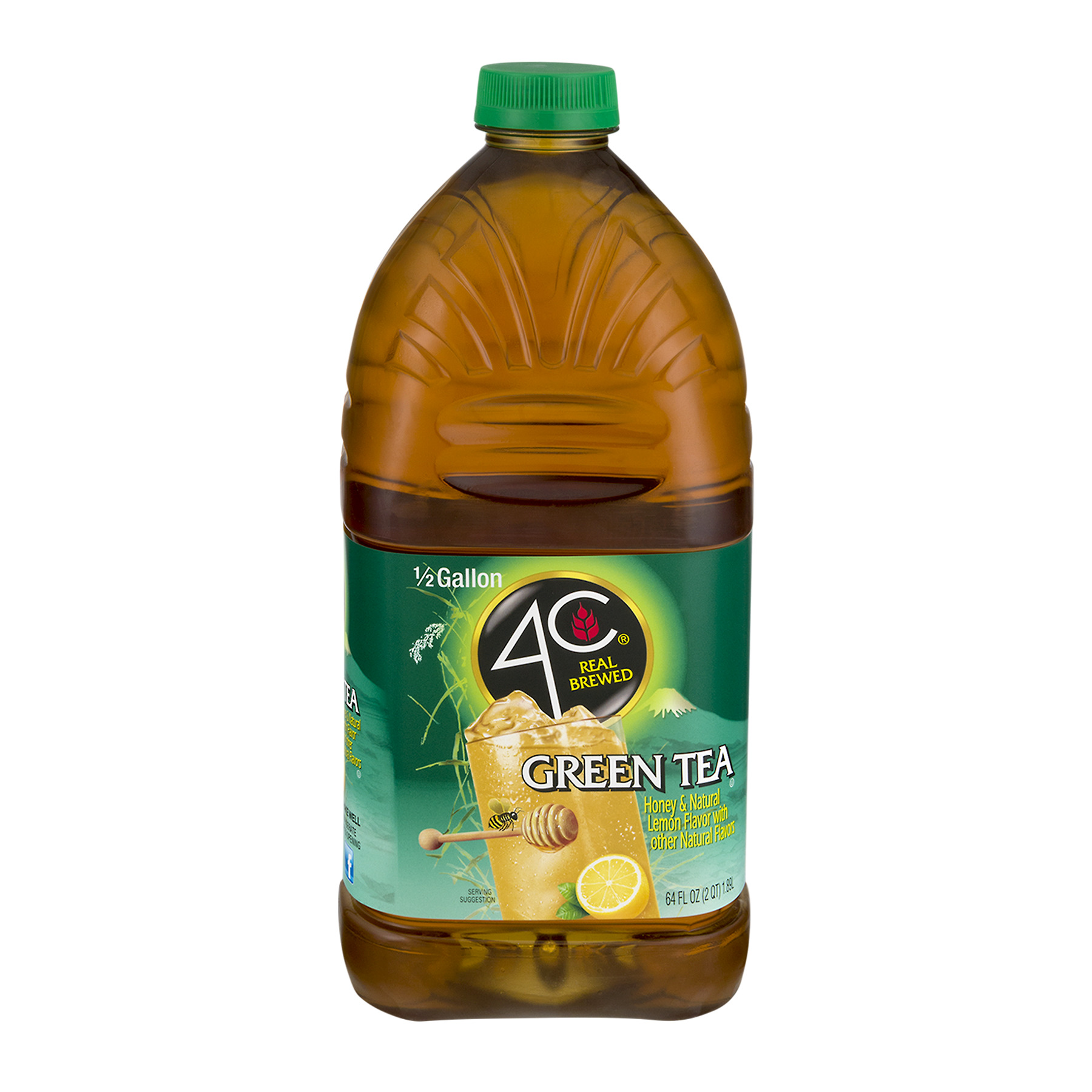 4C Honey & Natural Lemon Flavor Green Tea, 64 Fl. Oz.