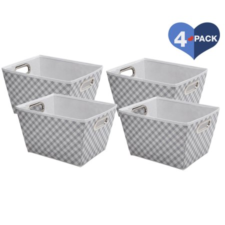 Delta Children Deluxe Water-Resistant Rectangle Storage Bins - 4 Pack, Gingham/Grey
