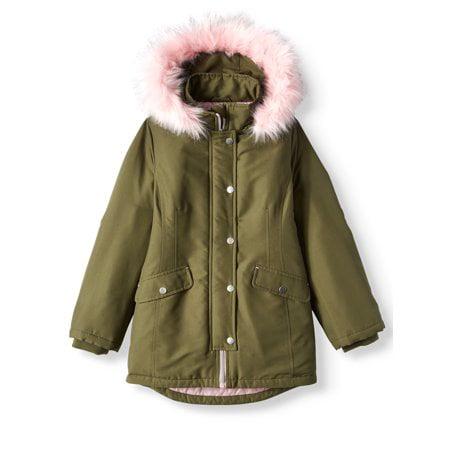 Faux Fur Hooded Parka Coat (Little Girls & Big